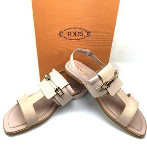 TOD'S 100% Italian Leather Ankle Strap Sandals